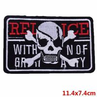 PUNK SKULL  EMBROIDERED IRON ON PATCH / BADGE / APPLIQUE LARGE OBLONG