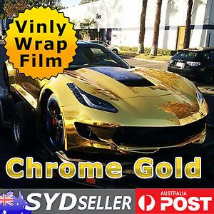 Vinyl Film Wrap Chrome Gold Mirror Finish Bubble Free Body/Hood/Roof 10M x 1.51M
