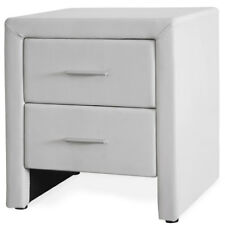 Corium Night Table With 2 Drawers White Imitation Leather Bedside Side