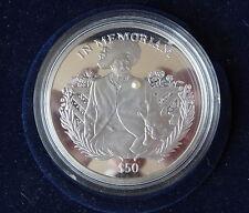 2002 plata prueba 5OZ Sierra Leona $50 moneda fijada con una perla Reina Madre