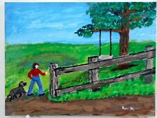 Lovely Original Painting Boy & His Dog Walking To A Tree Swing Summer Fun Signed