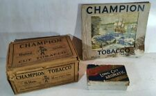 2 x Old CHAMPION tobacco OUTER PACKAGING BOXES & ADVERTISING SHOWCARD for Sydney