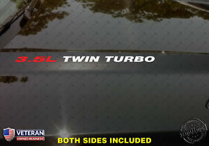 3.5L TWIN TURBO Hood Vinyl Decals Stickers Fits: Ford F150 Mustang EcoBoost V6