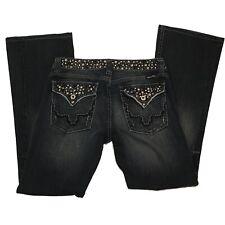 Miss Me Jeans Flap Pockets Studded Black Gems Stones Silver Studs Size 29