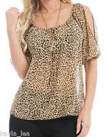 Beige/Brown Leopard/Cheetah Chiffon Split 'Peep' Shoulder Short Sleeve Top