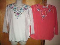NWT womens size M 8/10 ivory white orange embellished keyhole sweater shirt top