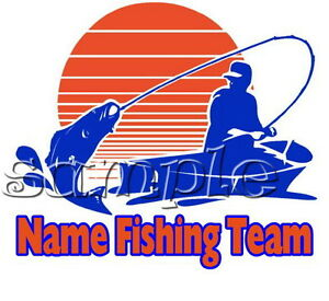 IRON ON TRANSFER FISHING FISH ROD BOAT Personalised with any team name 15x13cm