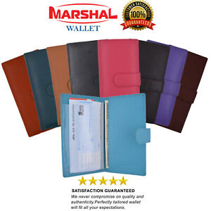 Slim Genuine Leather Checkbook Cover with Snap Closure for Extra Security COLORS