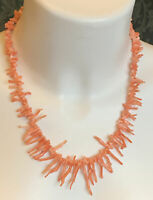 """VINTAGE ANGEL SKIN BRANCH CORAL GRADUATED BEAD LONG NECKLACE 20.5"""""""