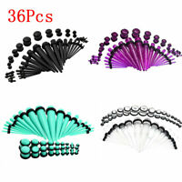 36Pcs Acrylic Ear Plug Taper Kits Gauge Expander Stretcher Stretching Piercing
