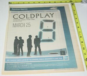 Coldplay Concert Ad Advert 2005 Twisted Logic Tour Continental Arena NJ Pop Rock