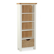 Hampshire Cream Painted Oak Top Tall Slim Bookcase with Storage Basket