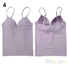 Modal Adjustable Strap Built In Bra Padded Self Mold Bra Tank Top Cami Fashion