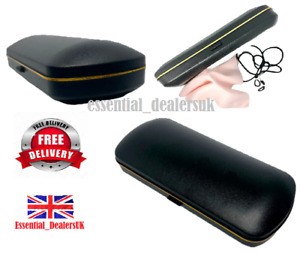GLASSES CASE with Cloth & Neck Cord Snap Shut Hard Shell Protection Reading