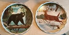 2 Rare Mid Century James L Artig Bear Deer Tray Wildlife Series Hunting Cabin