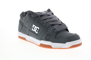 DC Stag 320188 Mens Gray Leather Lace Up Skate Inspired Sneakers Shoes 8