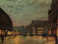 GRIMSHAW BOAR LANE LEEDS LAMPLIGHT 1881 ART PAINTING PRINT 12x16 inch 1620OM