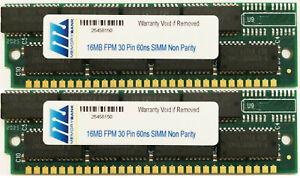 32MB (2 X16MB) 30pin SIMM RAM MEMORY 16X8 FOR MAC PERFORMA, QUADRA, IIsi,IIcx