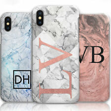 PERSONALISED INITIALS PHONE CASE MARBLE HARD COVER FOR SAMSUNG APPLE SONY & MORE