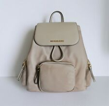 NWT MICHAEL KORS ABBEY LARGE CARGO BACKPACK NYLON LEATHER CEMENT