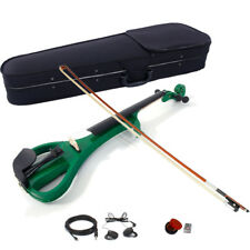 4/4 Electric Violin Silent Ebony parts Free Case+Bow Cable Rosin Headphone Green