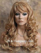 Human Hair Blend Heat OK Strawberry Blonde Mix Wig  Long Wavy WBCRE 27-613