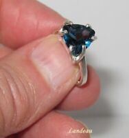 3.3 ct LONDON BLUE TOPAZ TRILLION SILVER RING