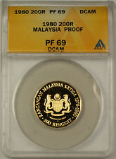 1980 200 Ringgit Malaysia Proof Gold Coin ANACS PF 69 DCAM