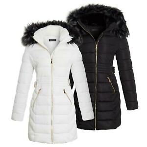 Shelikes Womens Faux Fur Parka Coat Quilted Jacket Black Off White 8 to 16