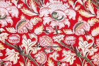 By Yard Indian Hand block Print Running Loose Cotton Fabrics Red Printed Decor