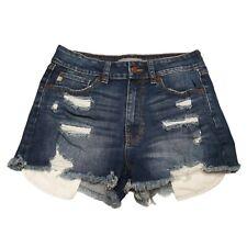 Just USA Cutoff Booty Shorts Womens Size M 4 Blue Mid Rise Dark Wash Stretch
