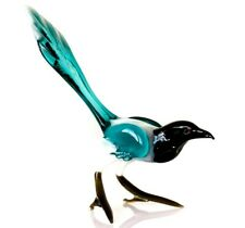 "Magpie Cyan, Figurine, Blown Glass ""Murano"" Art Ornament. Made in Russia"