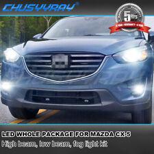 8x LED Headlight Kit Hi/low Beam + Fog Light Bulbs For Mazda CX-5 2013-2015 2016