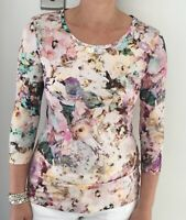 Designer Italian Floral Jersey Round Neck Top Size 18