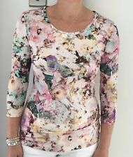 Designer Italian Floral Jersey Round Neck Top Size 14