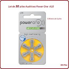 Lot de 30 piles boutons auditives A10 Power One, livraison rapide et gratuite