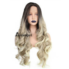 Anogol Long Wavy Curly Middle Part Synthetic Lace Front Wig Ombre Blonde Wigs