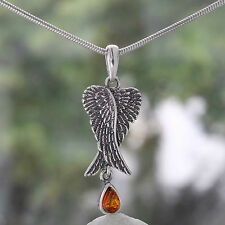 Flügel des Engels Silber-Anhänger mit hängendem Bernstein Auge - Engelsflügel