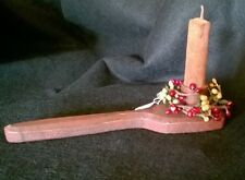 Primitive Distressed Wooden Mini Candle Holder with Candle & Candle Ring