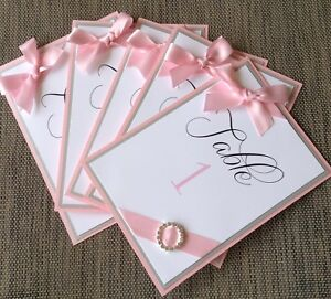 Pink And Silver Layered Table Number