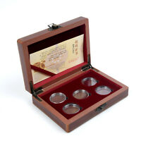 5 Coin Wood Case Display Box Wooden Storage Holder Collection Capsule Accessory