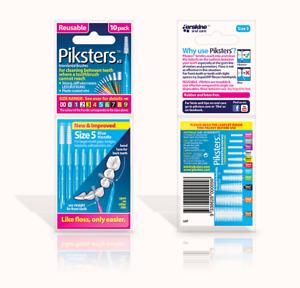 ツ Piksters Interdental Brushes - 10 Pack - Size 5 - Blue - Brand New