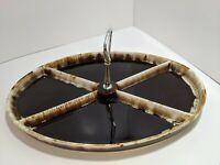 Vintage Pfaltzgraff Dinnerware Gourmet Brown Drip 4 section Serving Appetizer