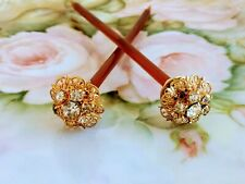 Art Deco Hair Sticks Pins rootbeer Bakelite Rhinestone Flower Tops