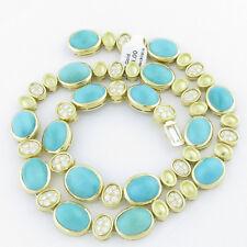 NYJEWEL Brand New 14K Gold 3.75ct Diamond Turquoise Necklace Bracelet Set $15999
