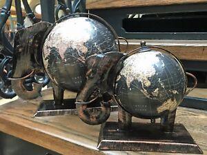 Fair Trade Decorative Elephant Black Globe Vintage World Map Small & Large