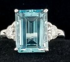 Vintage 14K WHITE GOLD RING 5.69CT. NATURAL GEM AQUAMARINE EMERALD  SHAPE