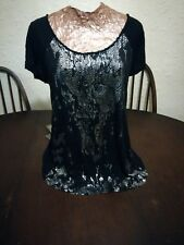 Size 8 Multi Tone Black Metallic Silver Animal Print Short Sleeved Top With Tie
