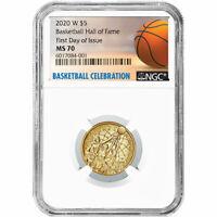 2020-W UNC $5 Gold Basketball Hall of Fame NGC MS70 FDI Basketball Label