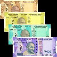 India 2017-19 > 10 / 20 / 50 / 100 Rupees / Gandhi, Banknote set of 4 UNC